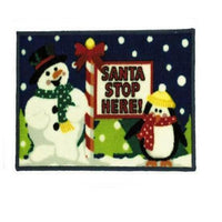 Santa Stop Christmas Machine Washable Door Mat Floor Entrance Mat 40x60cm