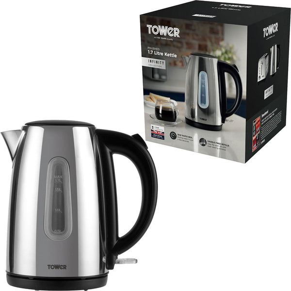 TOWER STAINLESS STEEL 1.7 LITRE KETTLE