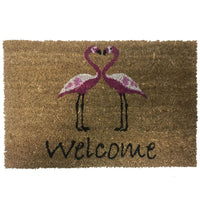 New Natural Coir Non Slip Welcome Floor Entrance Door Mat Indoor Outdoor Doormat[Flamingos Pair 40x60mm]