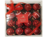 16 Red Metallic Luxury Christmas Baubles