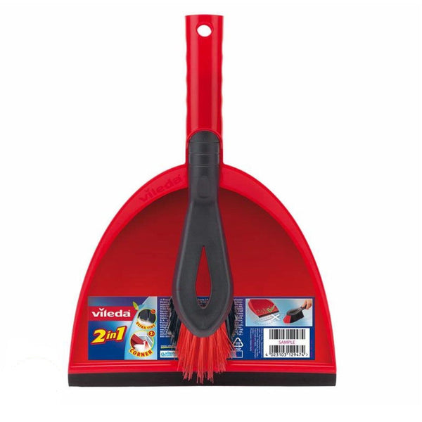 Vileda Dustpan and Brush Set Red Durable Plastic Sweeper Easy Clean Cleaning New