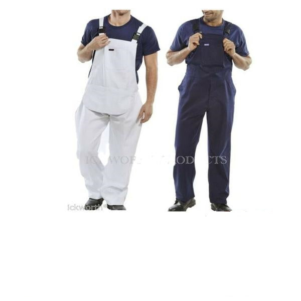 Bib and Brace Overalls Painters Decorators Coveralls Dungarees DIY White [SMALL NAVY BLUE]