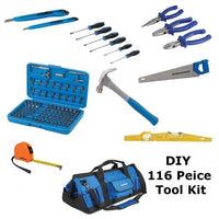 DIY 116 Peice Tool Kit in a Hard Carry Bag. Saw,Hammer,Pliers,screwdrivers Etc.