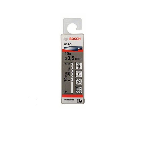 Bosch Drill Bits HSS-R DIN 338 Packs of 10 Sizes 1mm - 6mm[1.5 mm]