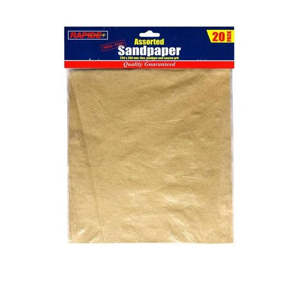 Mega 20 Pack Assorted Sand Paper Sheets Fine Medium Coarse Sandpaper