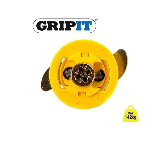 GRIP IT PLASTERBOARD FIXINGS & SCREWS HOLLOW CAVITY WALL GRIPIT Yellow 15mm - 71kg,1 Pack of 4