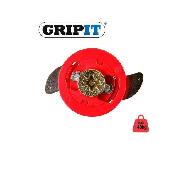 GRIP IT PLASTERBOARD FIXINGS & SCREWS HOLLOW CAVITY WALL GRIPIT Red 18mm - 74kg,1 Pack of 4