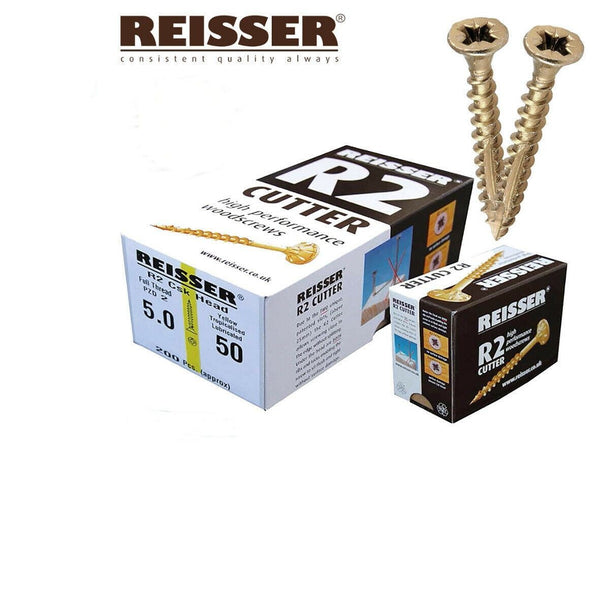 REISSER CUTTER WOOD SCREWS TORXFAST PROFESSIONAL SPIRAL SHANK 3.5,4, 4.5,5,6mm[4mm x 70mm (200 Screws]