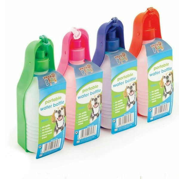 BLUE Portable Dog Drinker Bottle 300ml Pet Travel Water With Feeder Tray