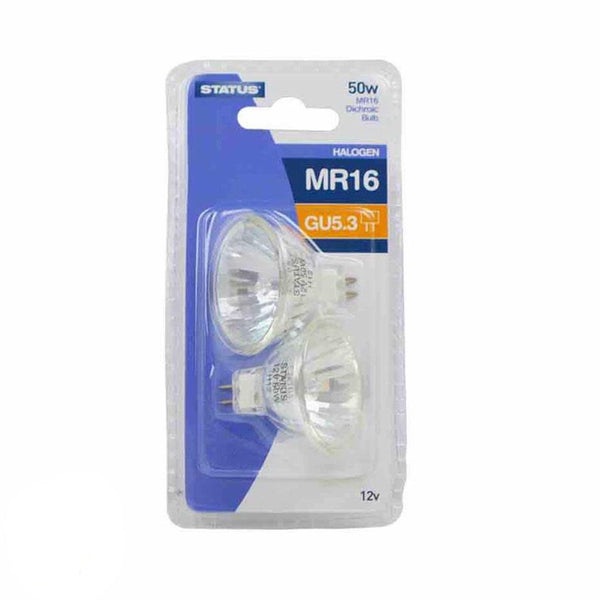 STATUS HALOGEN MR16 BULBS 50W 680 LUMEN PACK OF 2