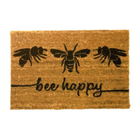 Natural Coir Rubber Back Non Slip Doormat Floor Entrance Door Mat Indoor Outdoor[Bee Happy]