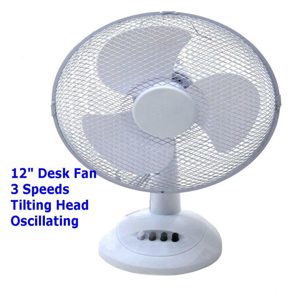 "12"" OSCILLATING ELECTRIC DESK FAN 12 INCH 3 SPEED SILENT PORTABLE HOME OFFICE"