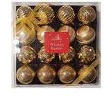 16 Gold Metallic Luxury Christmas Baubles