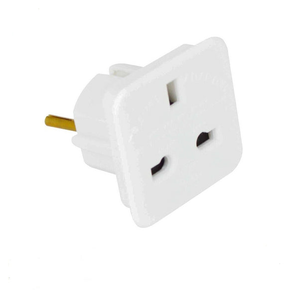 Continental Travel Adaptor Adapter Europe 2 Pin Plug to Uk Plug