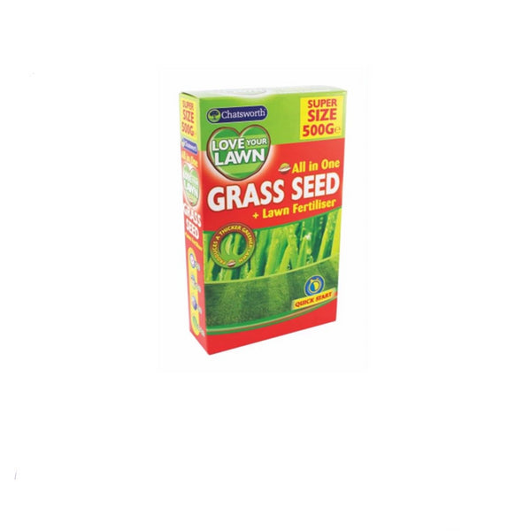 Love Your Lawn Quick Start Garden Grass Seed and Fertiliser New Super Size 500g