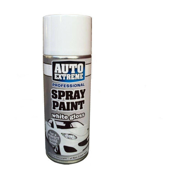 Professional White Gloss Finish Spray Paint Car Bike Van Petrol Resistant 400ml