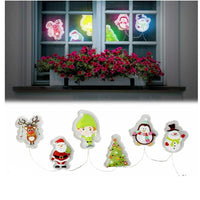 Christmas Light Up Gel Window Glass Door Stickers Coloured LED Decorations Santa