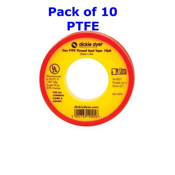 Genuine Dickie Dyer Gas PTFE Thread Seal Tape 10pk 12mm x 5m - 90.740 | 976341