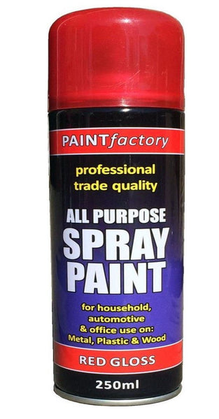 1 x 250ml All Purpose Red Gloss Spray Can Household Car Van Bike Aerosol Paint