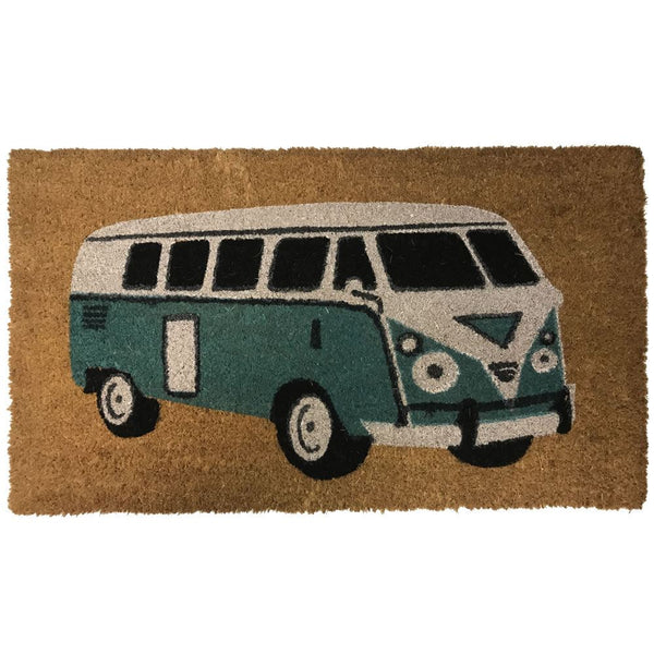 New Natural Coir Non Slip Welcome Floor Entrance Door Mat Indoor Outdoor Doormat[Camper Van (Green) 40x70mm]