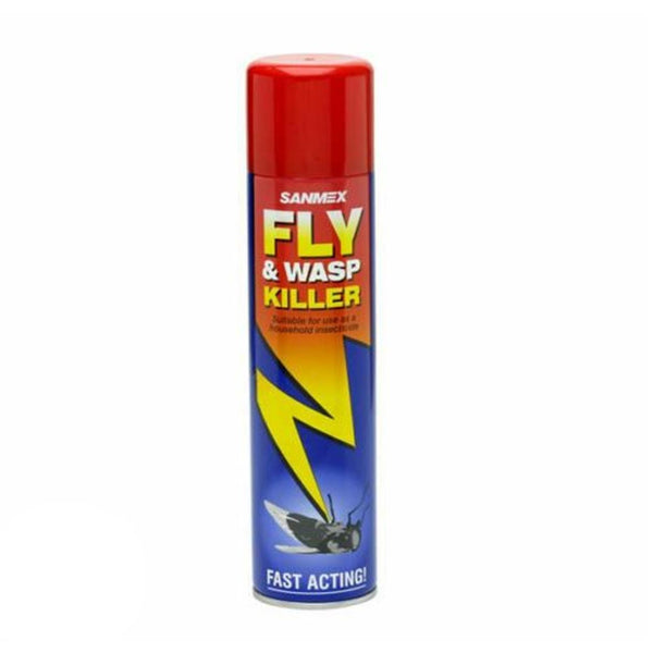 SANMEX FLY & WASP KILLER INSECTICIDE FAST ACTING AEROSOL SPRAY 300ml[1 x Sanmex Fly and Wasp Killer]