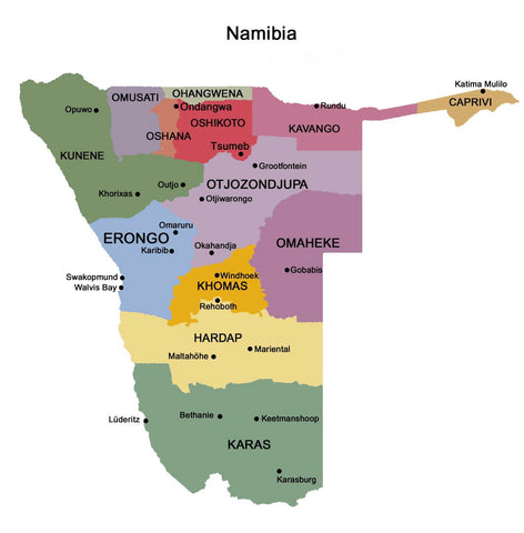 Namibia divided into it's regions