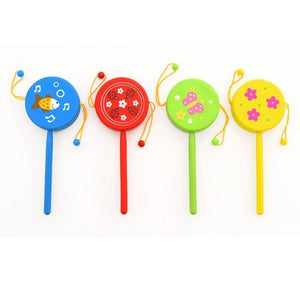 1pc Chinese Traditional Plastic Rattle Drum Spin Toys For Baby