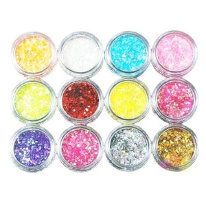12 Colors Glitter Nail Art kit