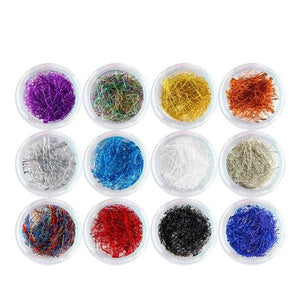12 Colors Metal Nail Art Glitter Line