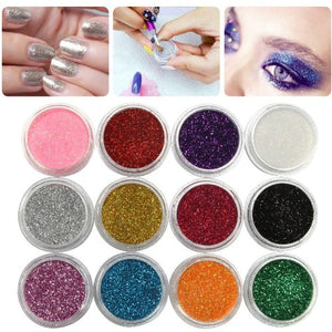 12 Pcs Mix Color Glitter Dust Power Decoration Nail Art