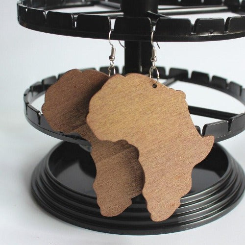 Africa Motherland Map Hand Carved Wooden Earrings