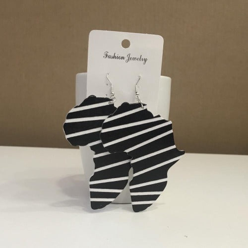Black And White African Map Earring