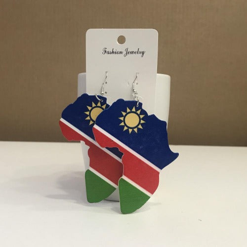 African Map Earring, Namibian Flag