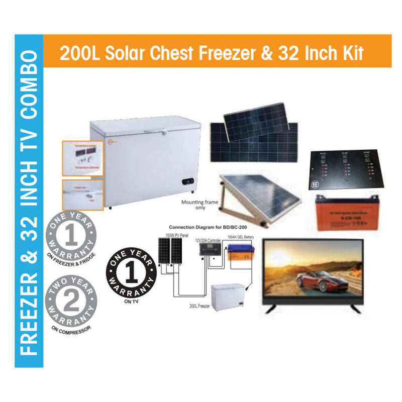 200L Solar Chest Freezer & 32 Inch Kit