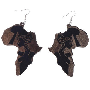 African Roots Wooden Earrings