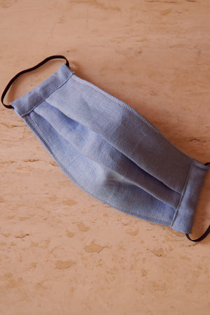 Face Mask Blue Linen