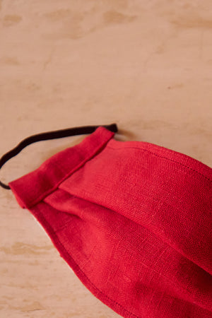 Face Mask Red Linen