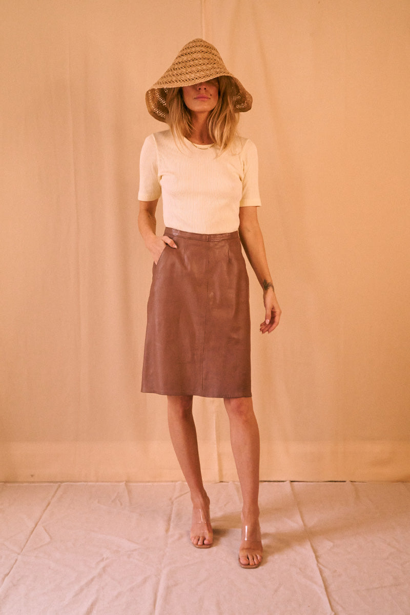 Leather Caramel Skirt