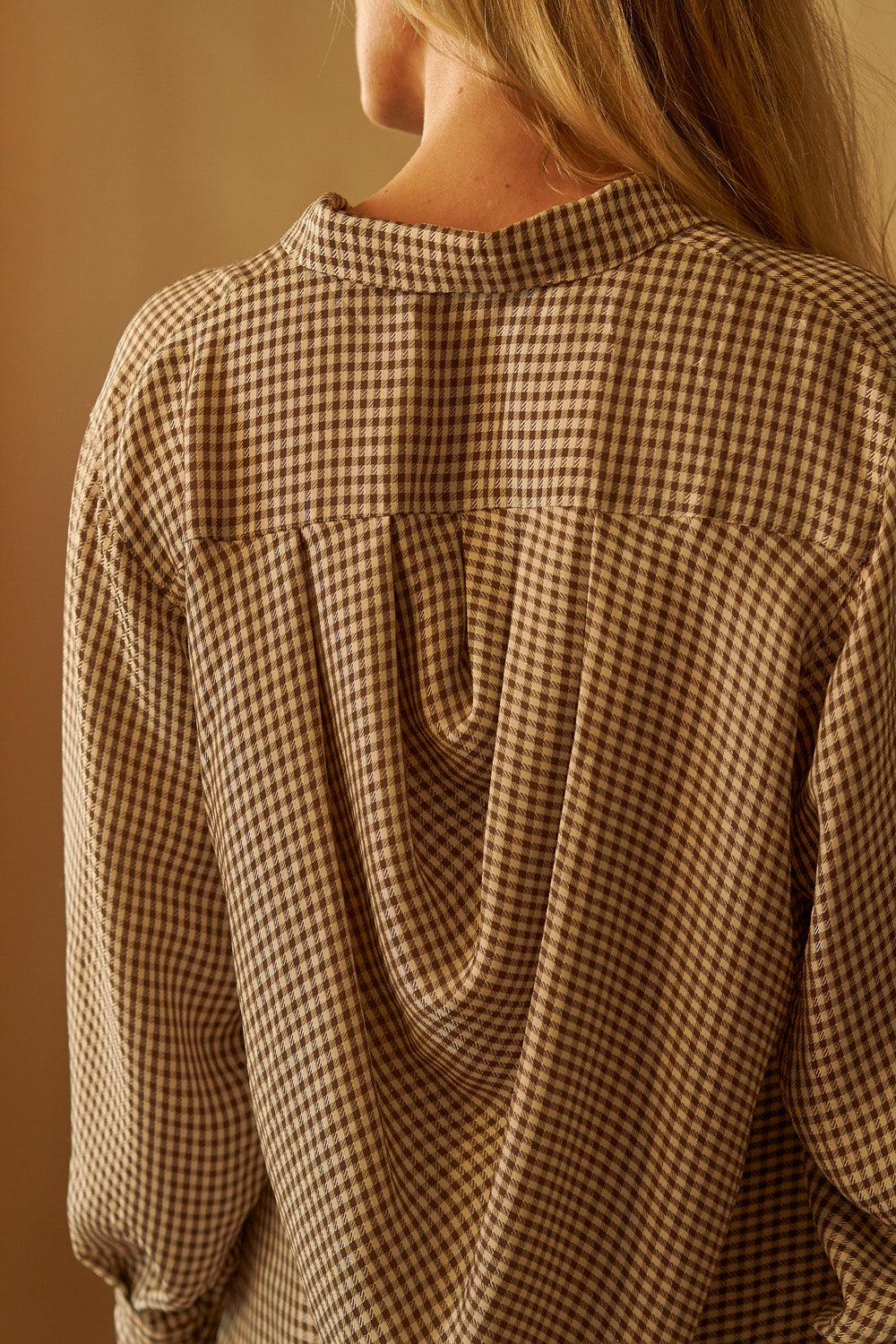 Gingham Draped Blouse