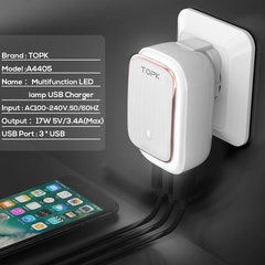 TOPK - 2-IN-1 : USB Charger Adapter & Night Light
