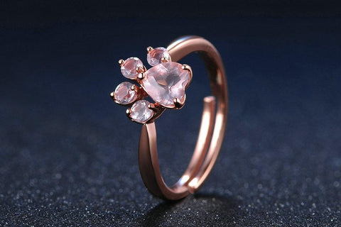 Crystal Paw Print on Rose Gold Ring