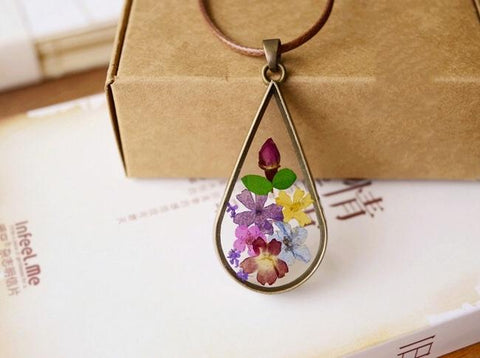 Vintage Necklace With Dried Flower Pendant