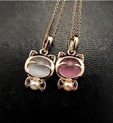 Kitty Cat Necklace With Opal Centerpiece