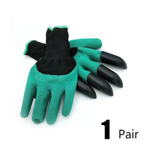 Rubber Gardening Gloves with 4 Plastic Finger Tip Claws