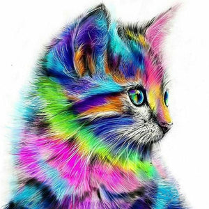 DIY Painting By Numbers - Colorful Cat Oil Painting