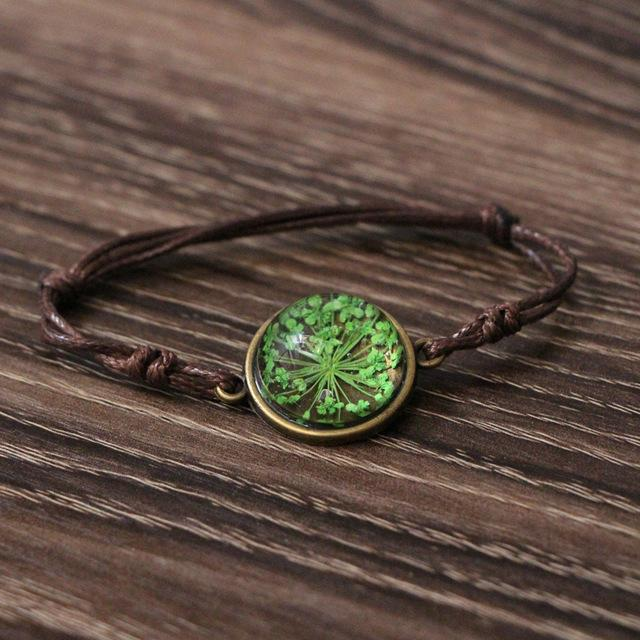 Handmade Woven Bracelet With Dried Flower Glass Ball