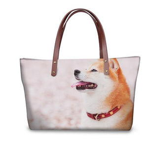 3D Dog Print Shoulder Bag