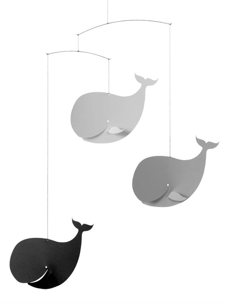 Flensted Mobiles Happy Whales Black/Grey Mobile
