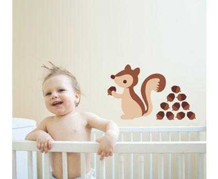 Speckled House Brown Squirrel Wall Stickers