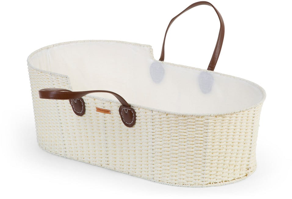 ChildHome Moses Basket Offwhite with Tan Leather Handles